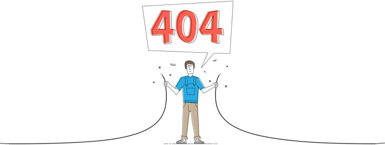 a man holding a broken cable to show a 404 page