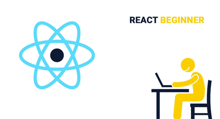 A person working on a laptop with a neutron ring floating ahead of him with the words react beginner