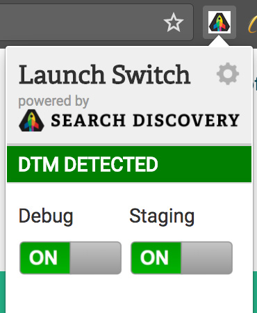 launch switch for testing and debugging in staging after AEM-DTM-Target integration