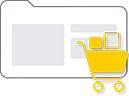 a shopping cart vector over the outline of a folder to represent e-commerce services