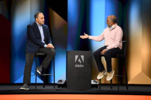 Chegg CEO Dan Rosensweig with Adobe CEO Shantanu Narayen