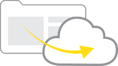 an arrow showing transformation from legacy data centres or wcms to cloud or advanced systems