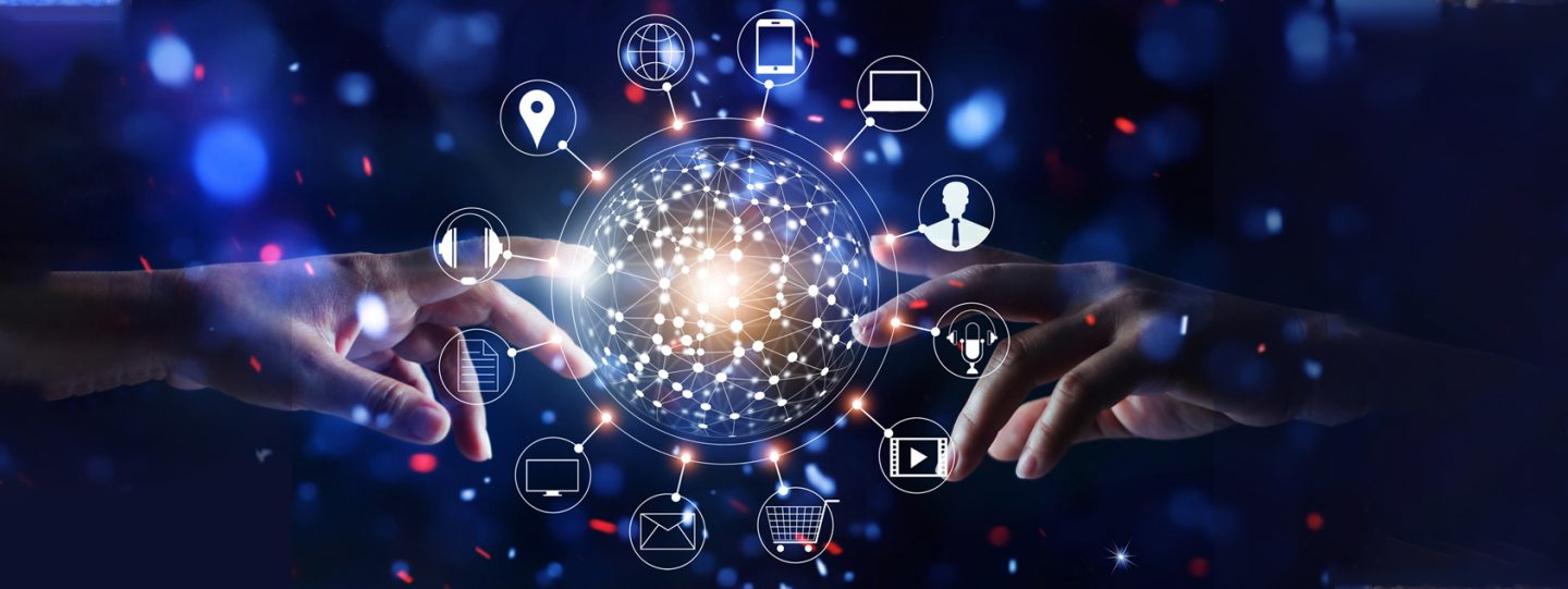 the elements of digital transformation branching out of a sphere with two index fingers trying to reach it