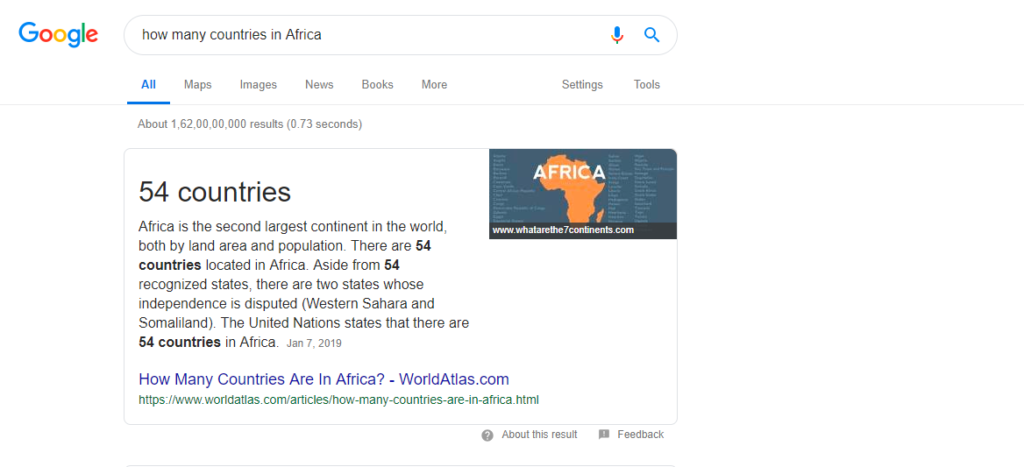 SERP for the voice search how many countries are there in Africa