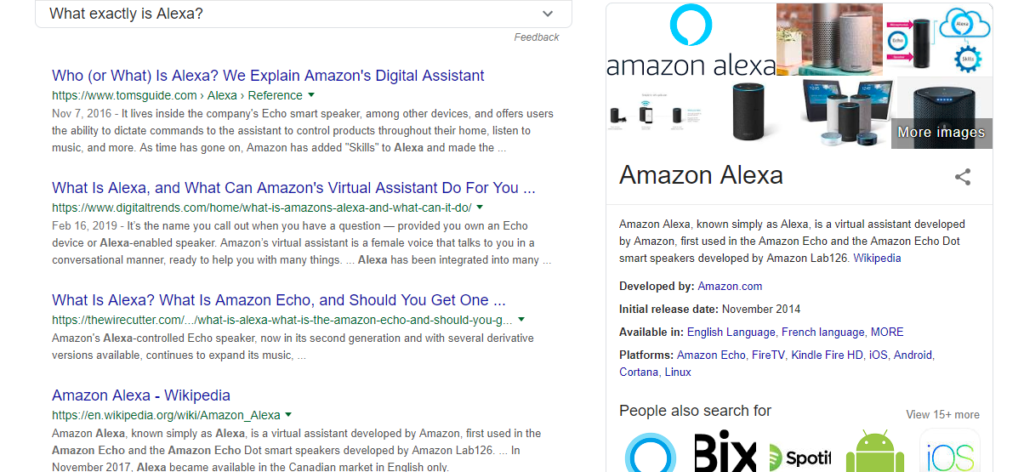 a typical search engine result page for the query Amazon Alexa on Google with a snippet on the side