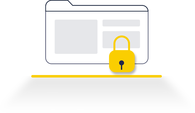a folder with a locked lock that represents website and digital asset security
