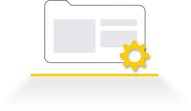 vector of a content folder and a gear representing a smooth web content management