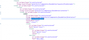 code lines to add the colourful dropdown class to a slected field in an AEM 6.2 component dialog