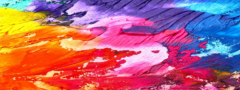an abstract splash of red, yellow, blue and pink hues on a canvas