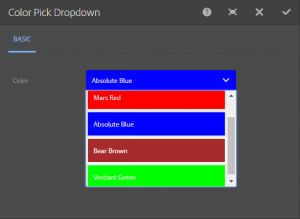 Absolute blue, Mars Red, Verdant green and bear brown hues shown with labels in a dropdown colour picker dialog box