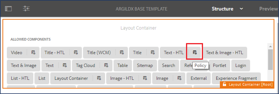 editing configurations with design dialog of a component