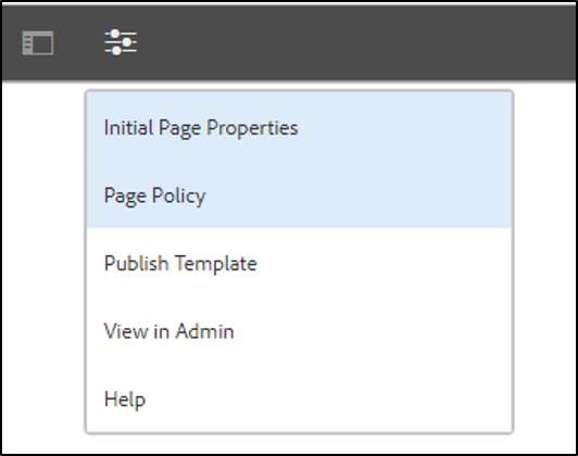 steps for applying page policy to the newly created template