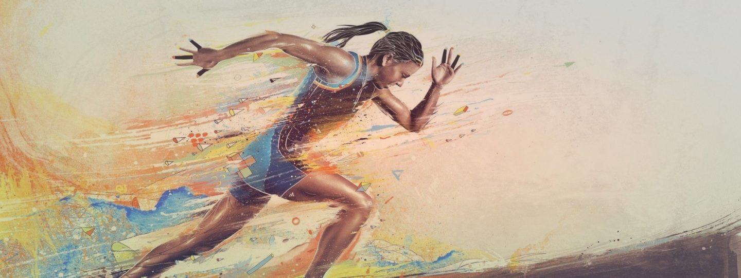 colourful sketch of woman running
