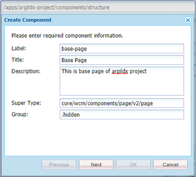 page component creation step