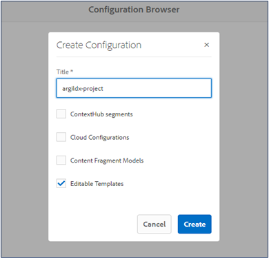 a demonstration of creating editable templates configuration in configuration browser