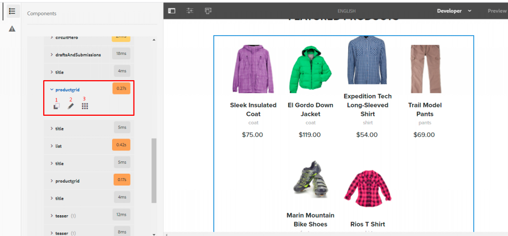 product grid component of We.Retail page within developer mode of adobe experience manager